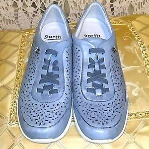 Earth Leather Nimble Viva Light Blue Slip-On Shoes